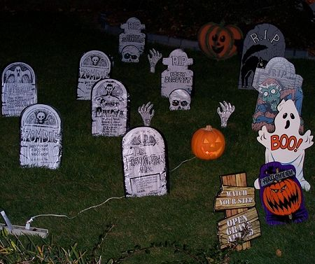 Graveyard with Tombstones - Outdoor Halloween Decorating Idea