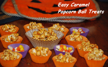 Easy Caramel Popcorn Ball Treats - Halloween Recipes