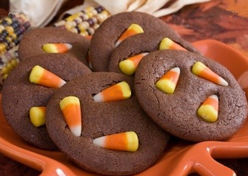 Chocolate Candy Corn Cookies - Halloween Recipes
