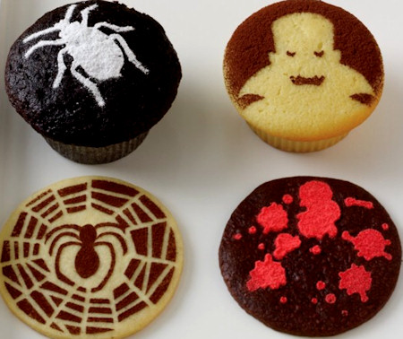 Stenciled Halloween Cupcakes - Decorating Idea