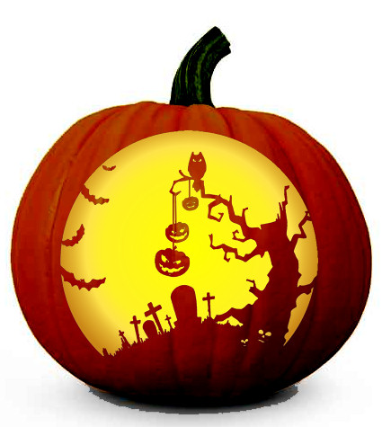 Scary Halloween Tree Scenery - Pumpkin Carving Pattern