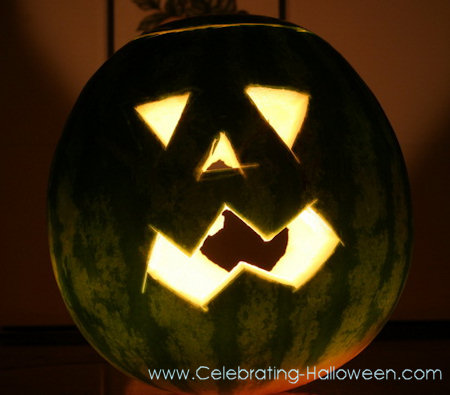 Watermelon Jack-O-Lanterns for Halloween Party Decorations