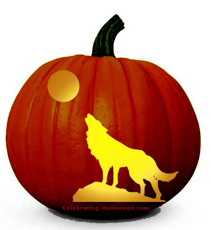 Wolf Howling at Full Moon - Scary Pumpkin Carving Pattern